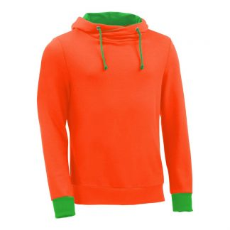 Kapuzenpullover mit Schalkragen_fairtrade_orange_QMOCSF_front
