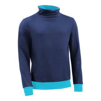 Pullover mit Schalkragen_fairtrade_blau_GM2WIR_front