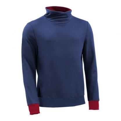 Pullover mit Schalkragen_fairtrade_blau_KCMPLO_front