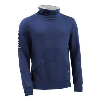 Pullover mit Schalkragen_fairtrade_blau_UHEYSE_front