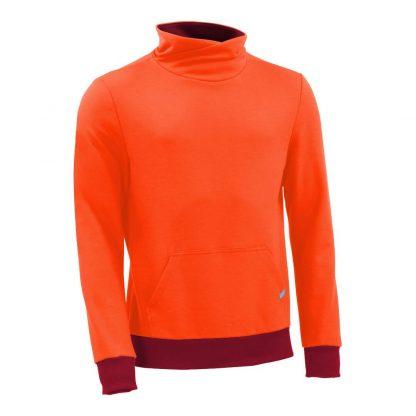 Pullover mit Schalkragen_fairtrade_orange_RRC7C3_front
