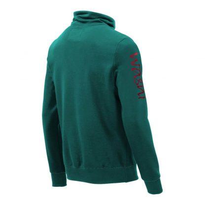 Pullover mit Schalkragen_fairtrade_petrol_PDOTMA_rueck