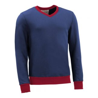 Pullover mit V-Ausschnitt_fairtrade_blau_5LGY6P_front