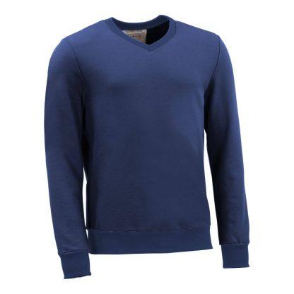Pullover mit V-Ausschnitt_fairtrade_blau_8PB8C3_front