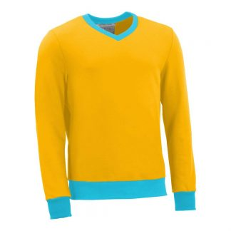 Pullover mit V-Ausschnitt_fairtrade_gelb_NFGLVD_front