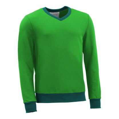 Pullover mit V-Ausschnitt_fairtrade_gruen_7P6O9L_front