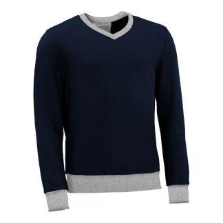 Pullover mit V-Ausschnitt_fairtrade_marineblau_43Q2R3_front