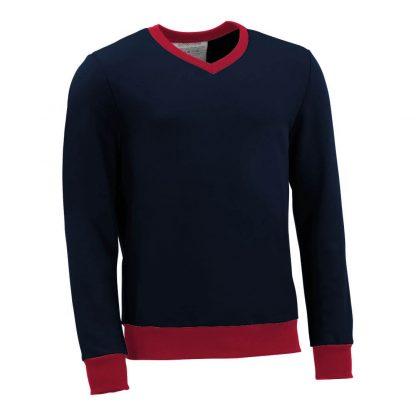 Pullover mit V-Ausschnitt_fairtrade_marineblau_CUC2CN_front