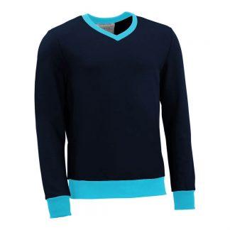 Pullover mit V-Ausschnitt_fairtrade_marineblau_TDKHA2_front