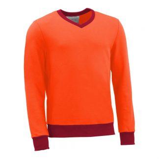 Pullover mit V-Ausschnitt_fairtrade_orange_7DDFKU_front