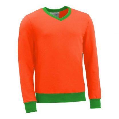 Pullover mit V-Ausschnitt_fairtrade_orange_B4LX41_front