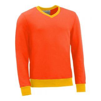 Pullover mit V-Ausschnitt_fairtrade_orange_BCOJ8U_front