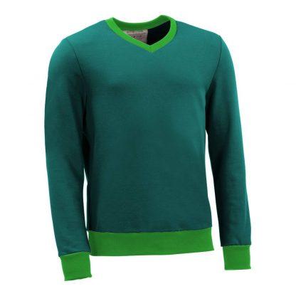 Pullover mit V-Ausschnitt_fairtrade_petrol_CZJLE6_front