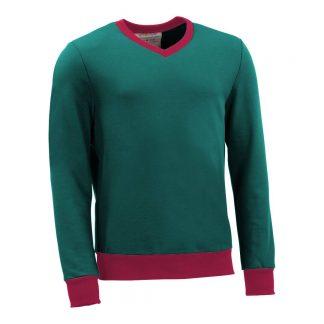 Pullover mit V-Ausschnitt_fairtrade_petrol_DVHP3O_front
