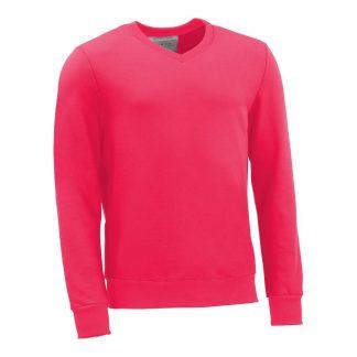 Pullover mit V-Ausschnitt_fairtrade_pink_HENSDD_front