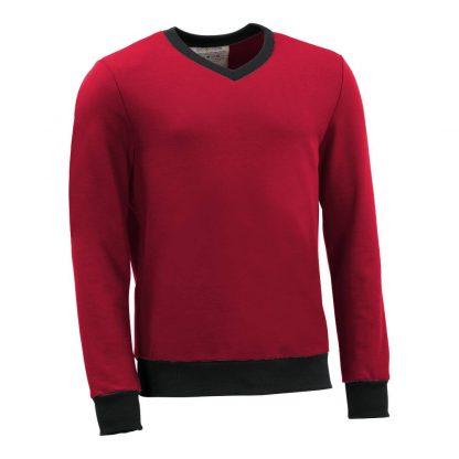 Pullover mit V-Ausschnitt_fairtrade_rot_GWPHMP_front