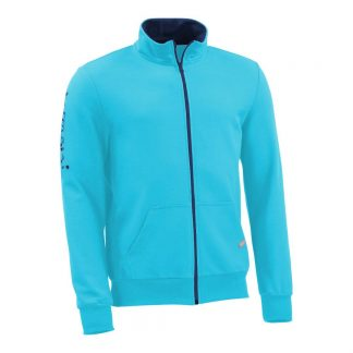Sweatjacke_fairtrade_tuerkis_EOC62J_front