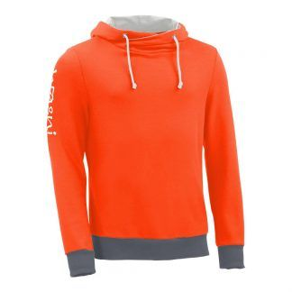 Kapuzenpullover mit Schalkragen_fairtrade_orange_8B01L4_front