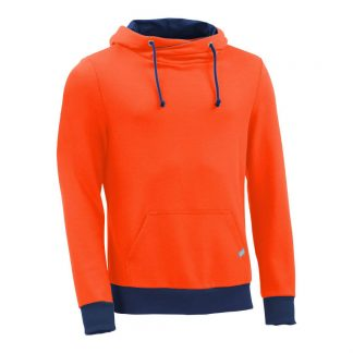 Kapuzenpullover mit Schalkragen_fairtrade_orange_LZJBN4_front