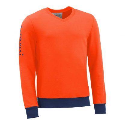 Pullover mit V-Ausschnitt_fairtrade_orange_LSS6ON_front
