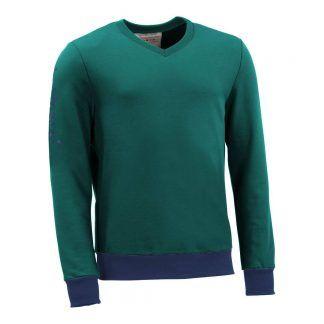 Pullover mit V-Ausschnitt_fairtrade_petrol_0MQ0QM_front