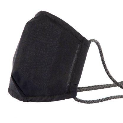 Mund-Nasen-Maske mit Kordel, schwarz