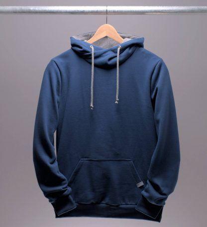 Hoodie blau Männer, Farbe tiefseeblau