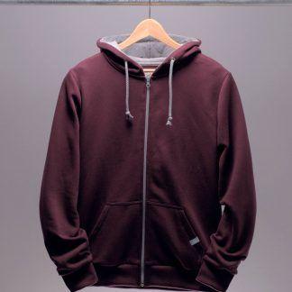 kapuzenjacke-hoodie-maenner-bordeaux